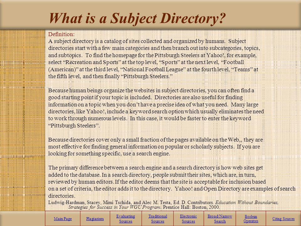 What is a Subject Directory