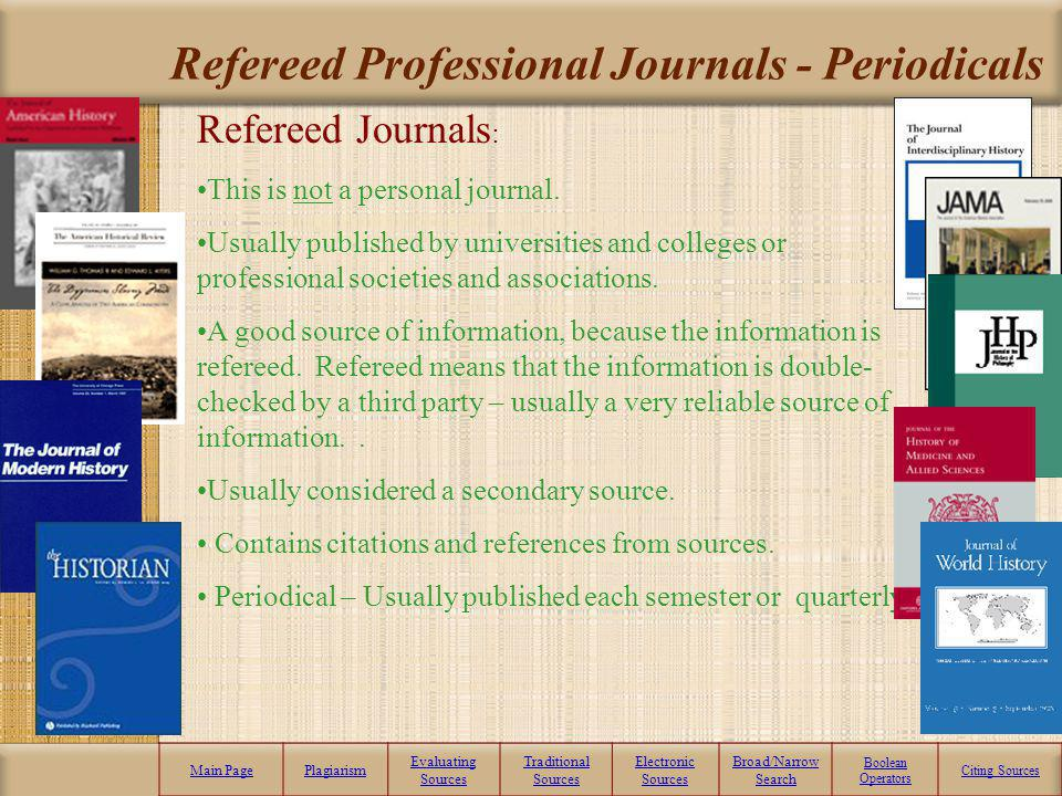 Refereed Professional Journals - Periodicals