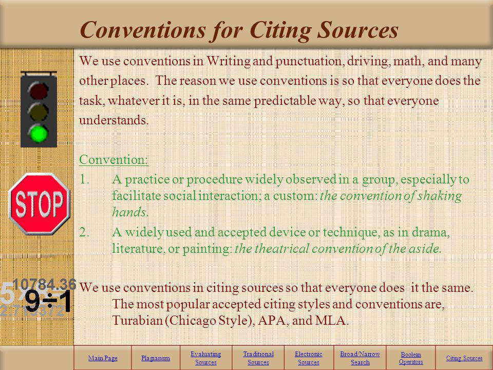 Conventions for Citing Sources