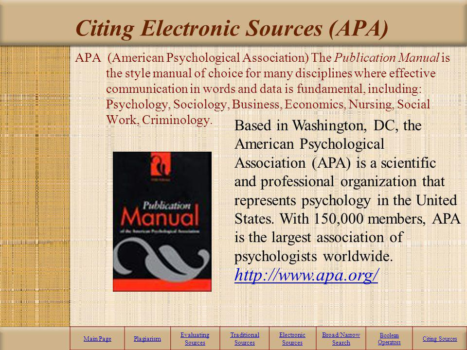 Citing Electronic Sources (APA)