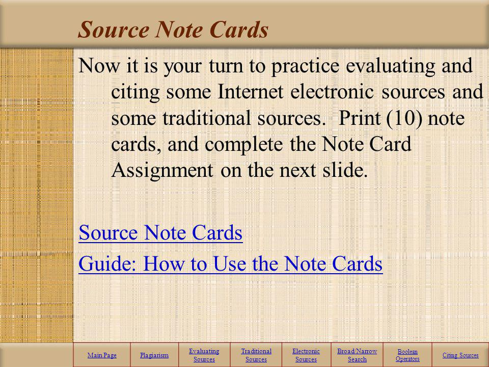 Source Note Cards
