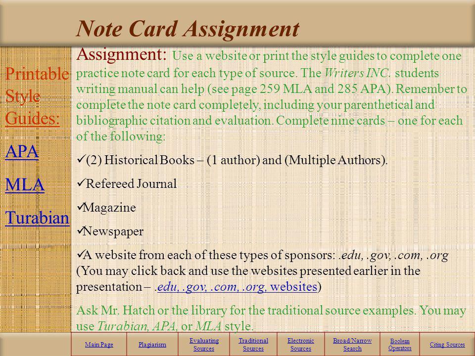 Note Card Assignment