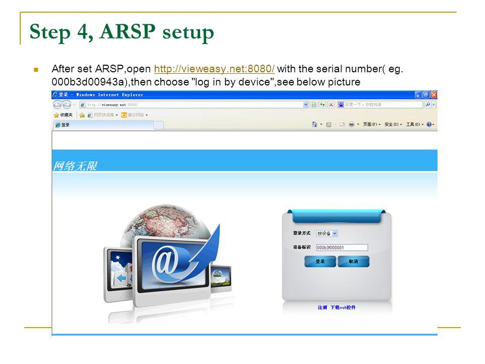 Step 4, ARSP setup