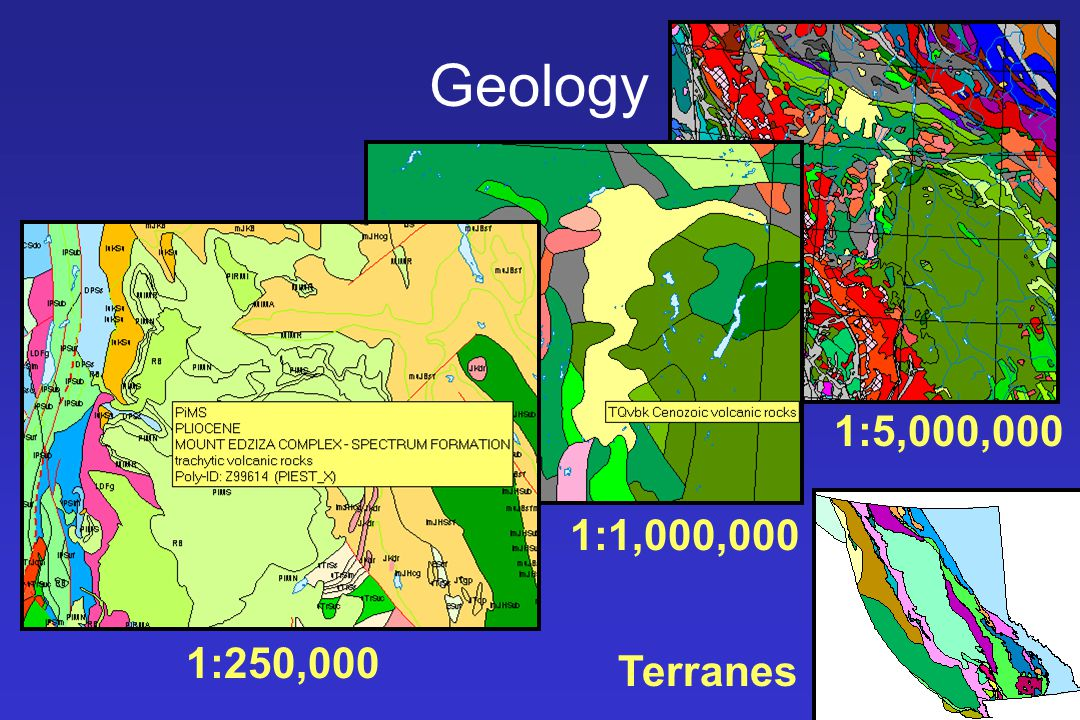Geology 1:5,000,000. 1:1,000,000. 1:250,000. Various levels of detail are presented with different visible scales.
