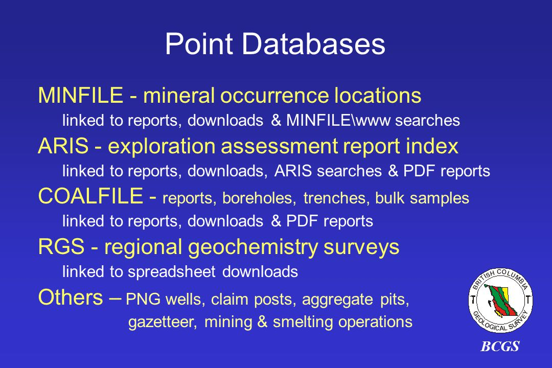 Point Databases MINFILE - mineral occurrence locations