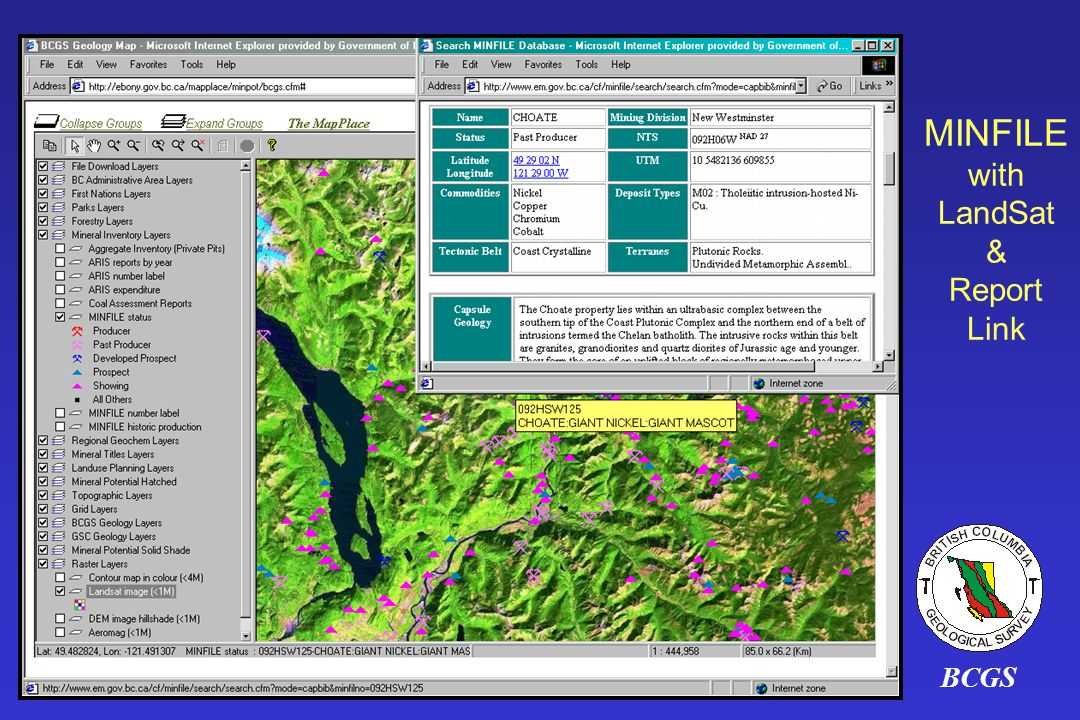 MINFILE with LandSat & Report Link