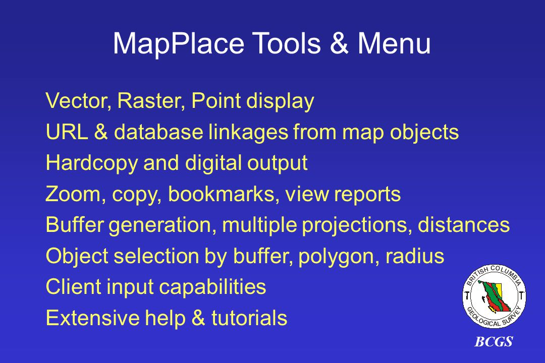 MapPlace Tools & Menu Vector, Raster, Point display