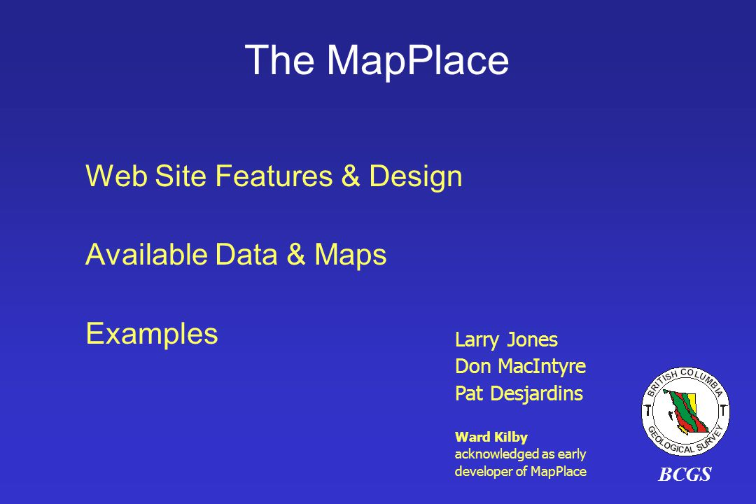 The MapPlace Web Site Features & Design Available Data & Maps Examples