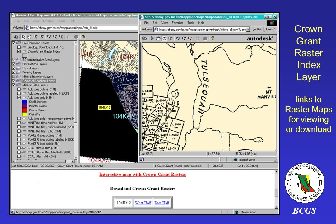 Crown Grant Raster Index Layer links to Raster Maps for viewing or download