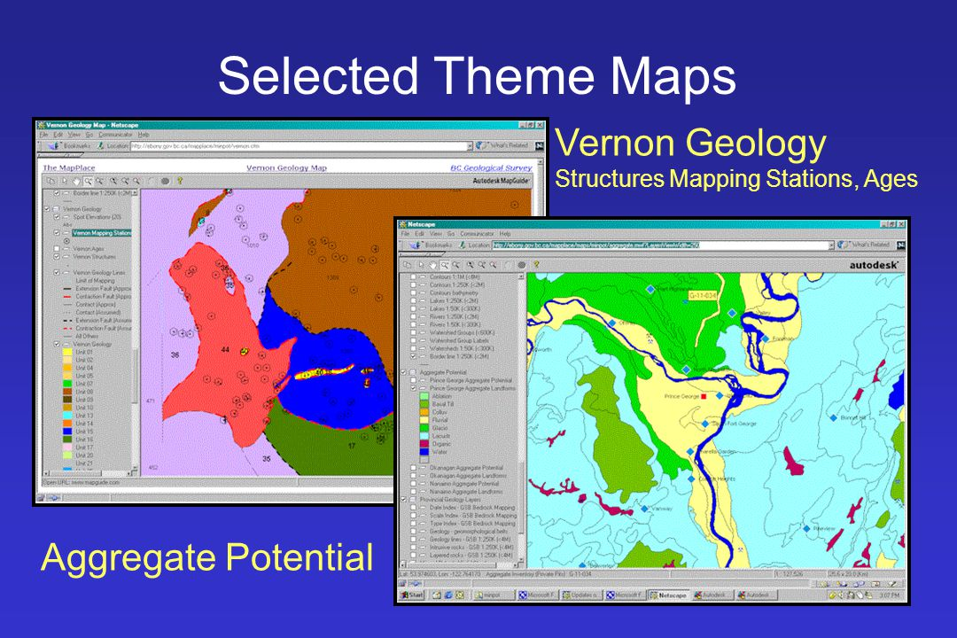 Selected Theme Maps Vernon Geology Structures Mapping Stations, Ages