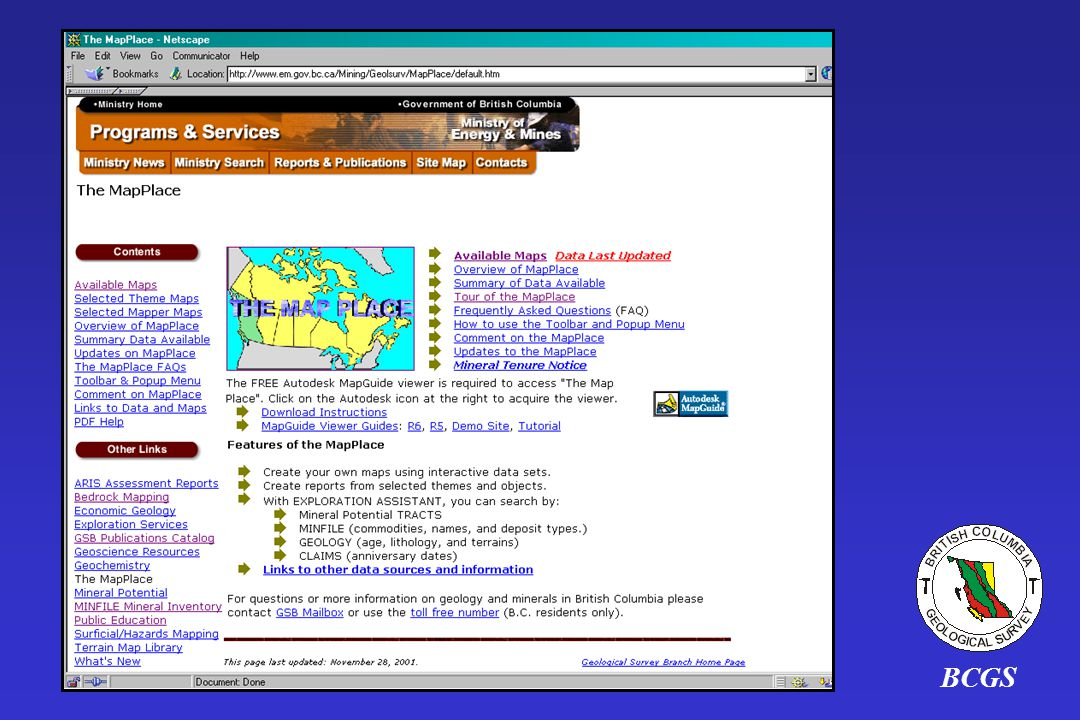 BCGS The MapPlace Home page is a good one to bookmark.