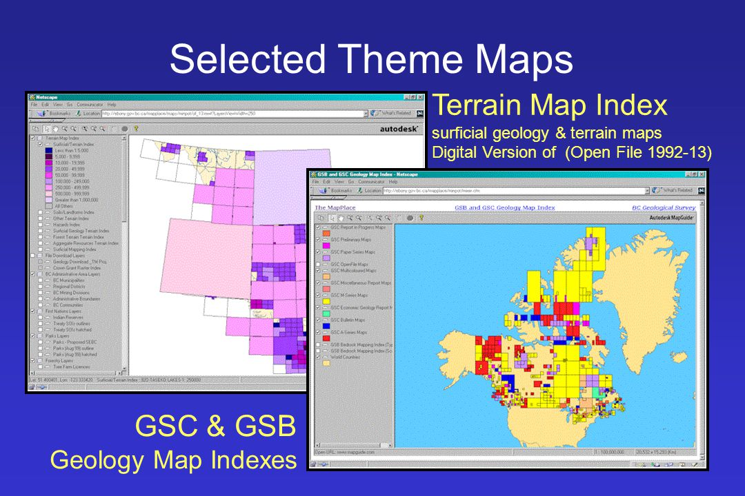 Selected Theme Maps Terrain Map Index surficial geology & terrain maps Digital Version of (Open File 1992-13)
