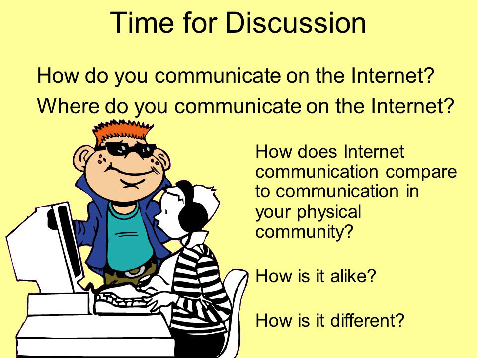 Time for Discussion How do you communicate on the Internet