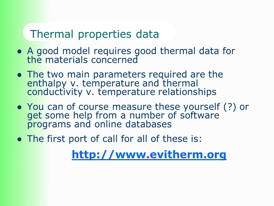 Thermal properties data
