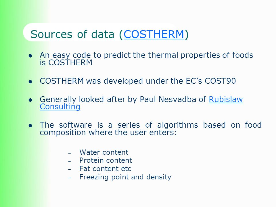 Sources of data (COSTHERM)