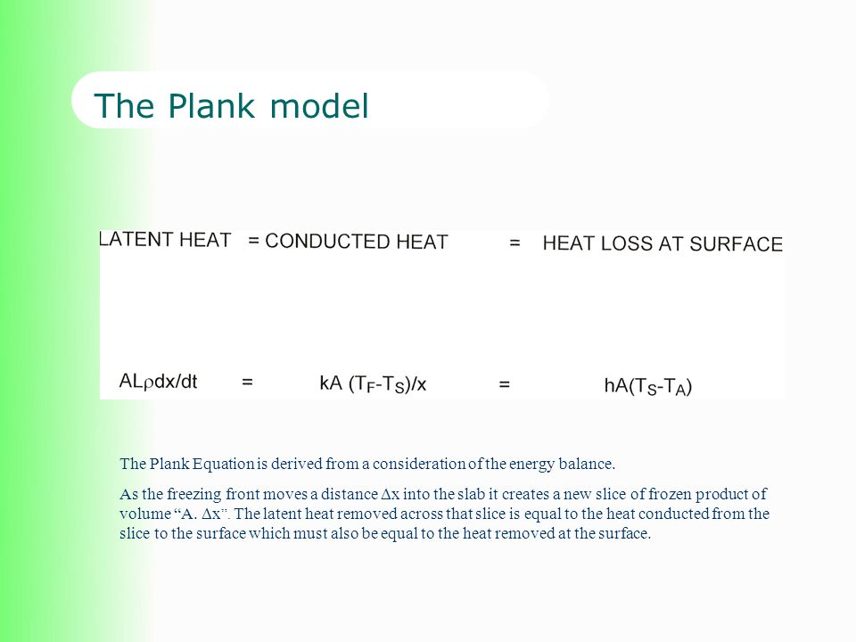 The Plank model The Plank Equation is derived from a consideration of the energy balance.