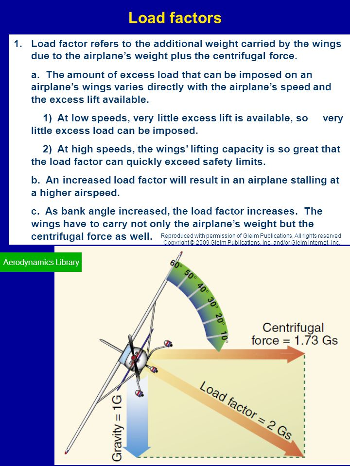 Load factors Load factor refers to the additional weight carried by the wings due to the airplane's weight plus the centrifugal force.