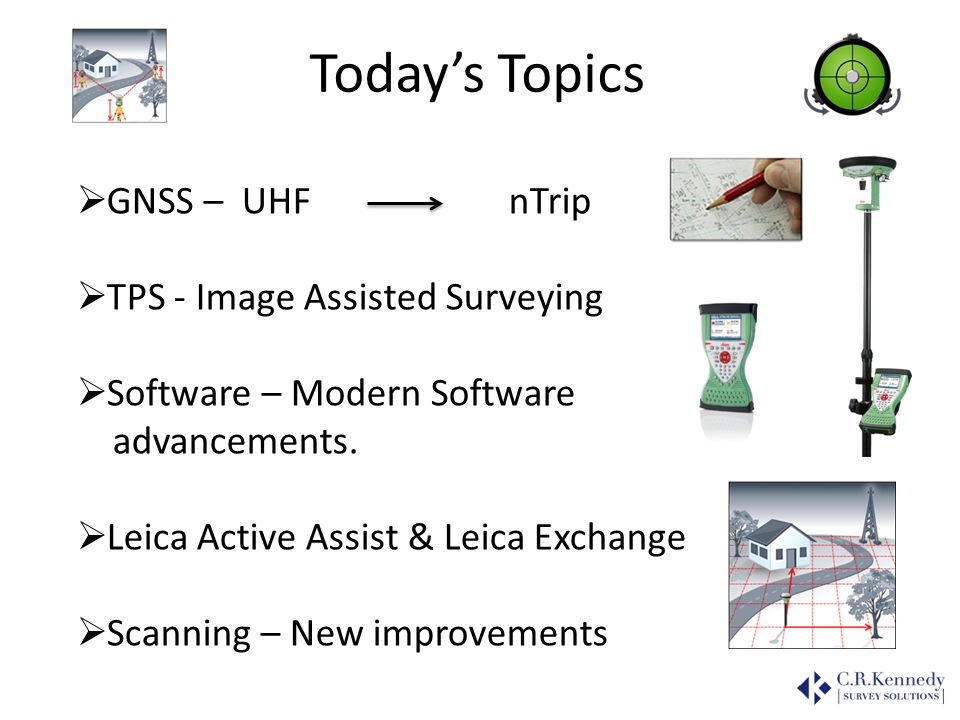 Today's Topics GNSS – UHF nTrip TPS - Image Assisted Surveying