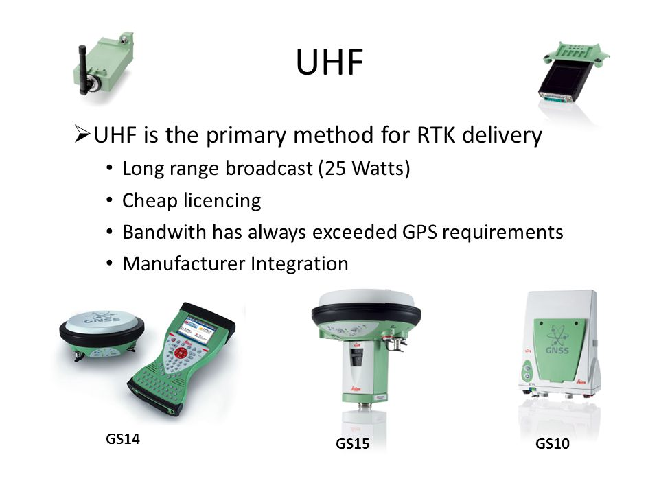 UHF UHF is the primary method for RTK delivery