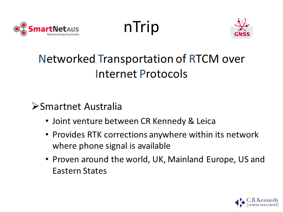 Networked Transportation of RTCM over Internet Protocols