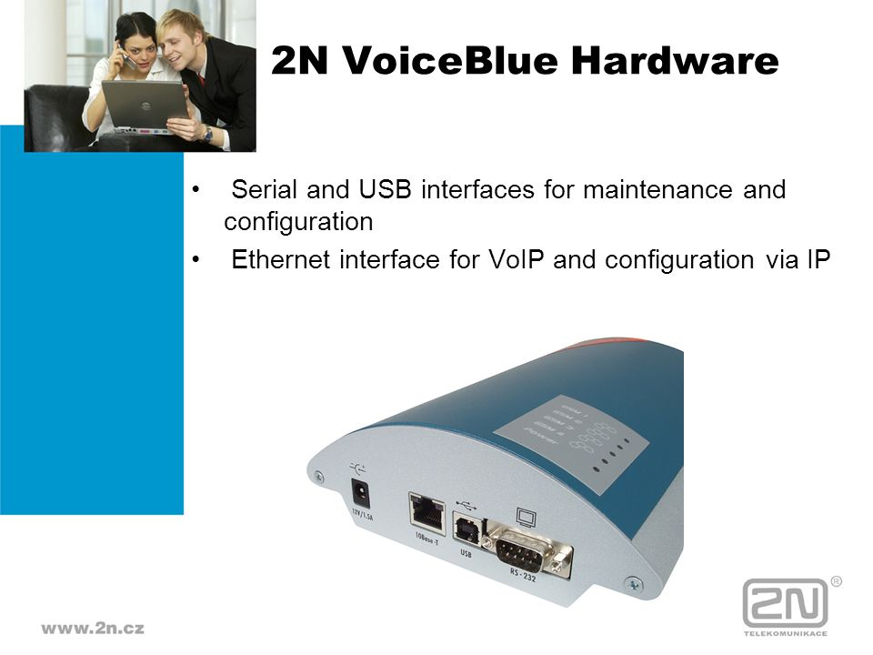 2N VoiceBlue Hardware Serial and USB interfaces for maintenance and configuration.