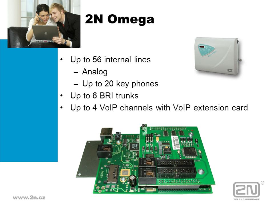 2N Omega Up to 56 internal lines Analog Up to 20 key phones