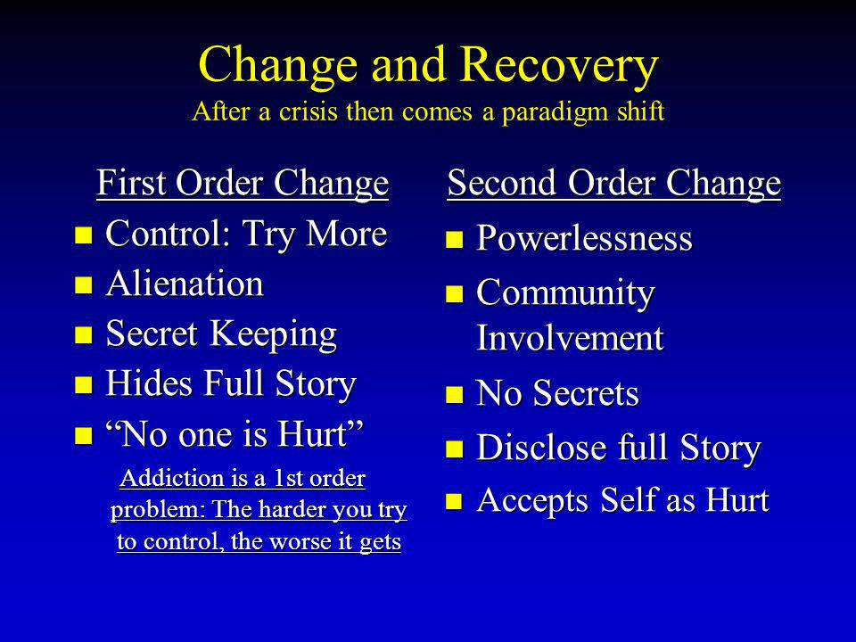 Change and Recovery After a crisis then comes a paradigm shift