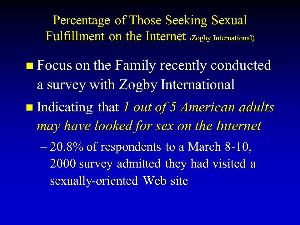 Percentage of Those Seeking Sexual Fulfillment on the Internet (Zogby International)