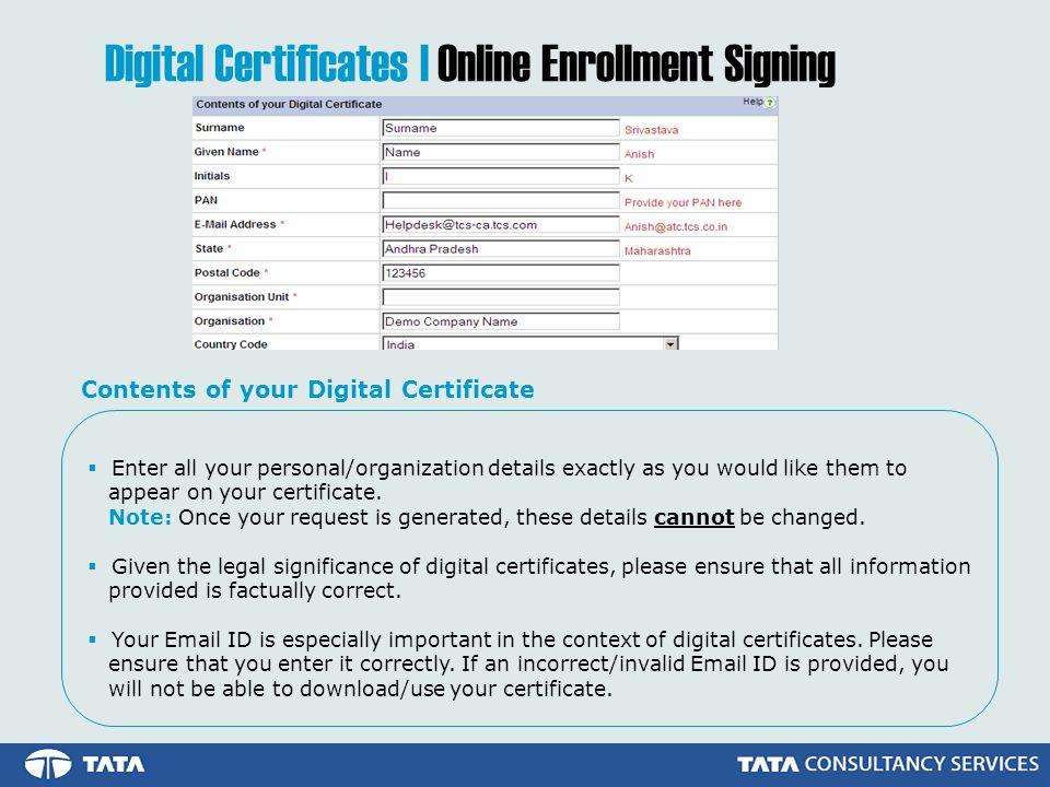 Digital Certificates | Online Enrollment Signing