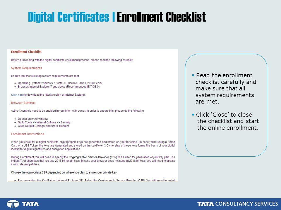 Digital Certificates | Enrollment Checklist