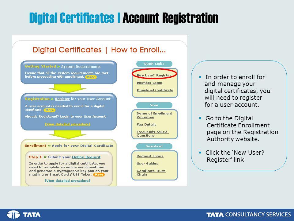 Digital Certificates | Account Registration