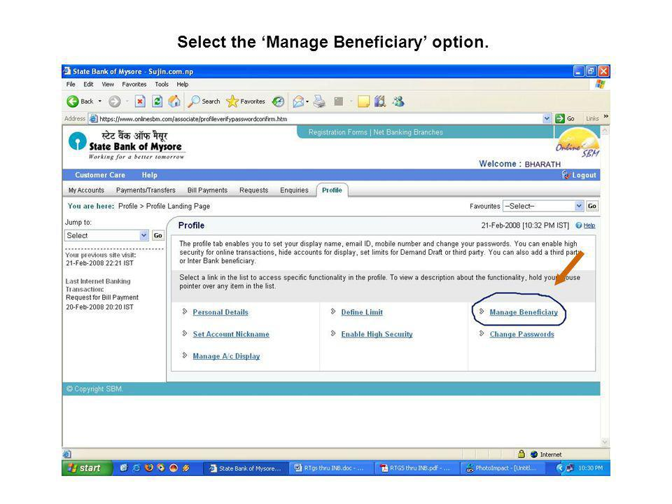 Select the 'Manage Beneficiary' option.