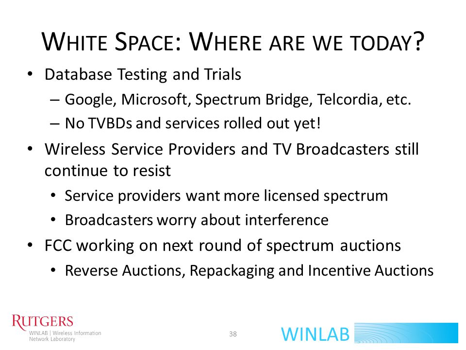 White Space: Where are we today