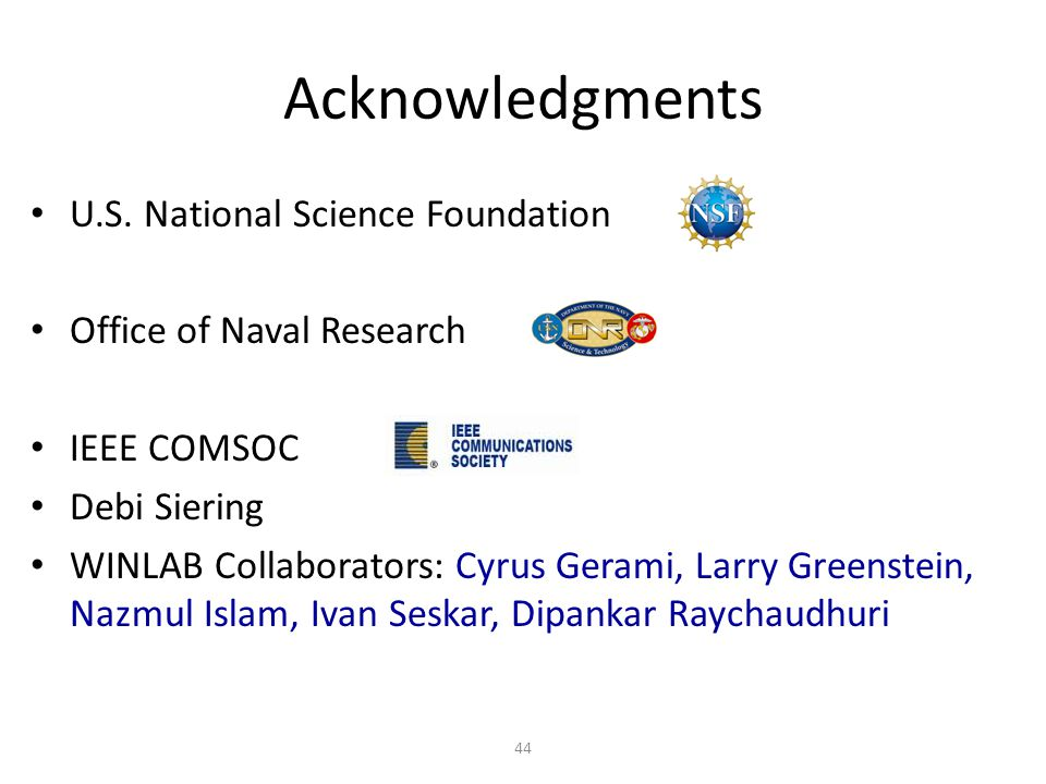 Acknowledgments U.S. National Science Foundation