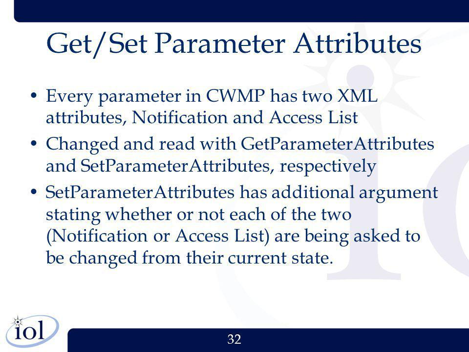 Get/Set Parameter Attributes