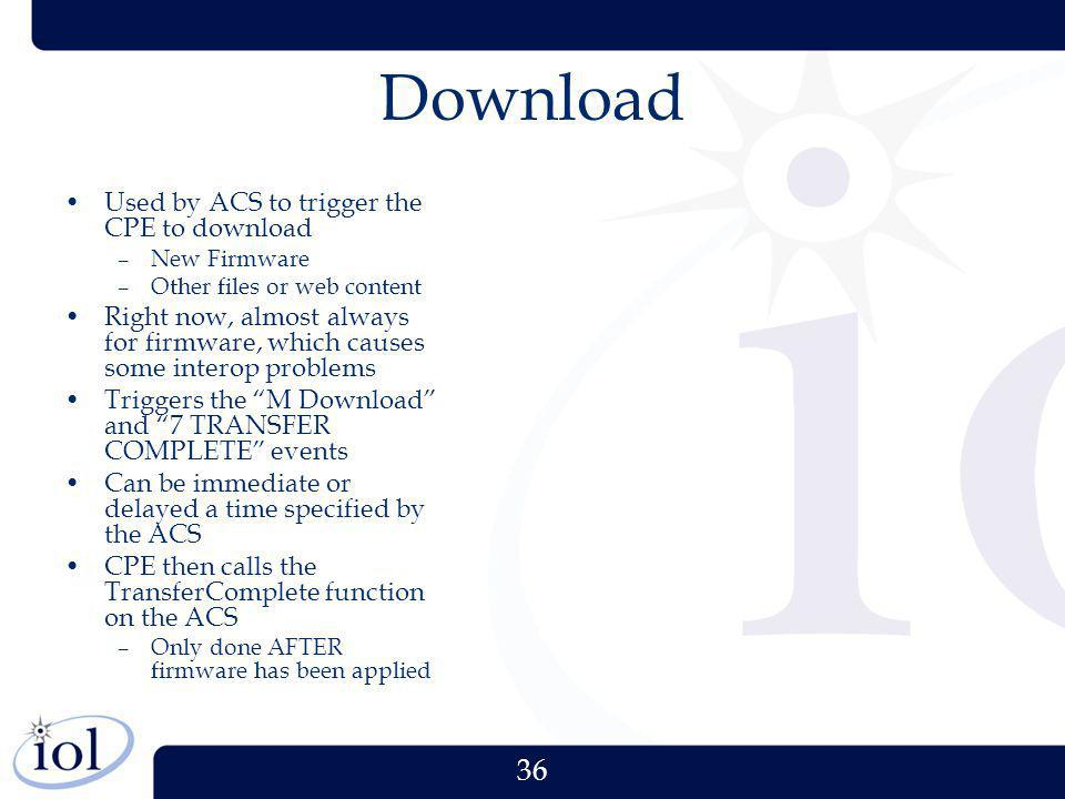 Download Used by ACS to trigger the CPE to download
