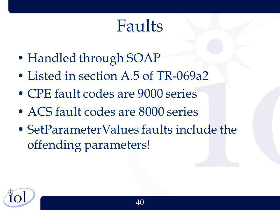 Faults Handled through SOAP Listed in section A.5 of TR-069a2