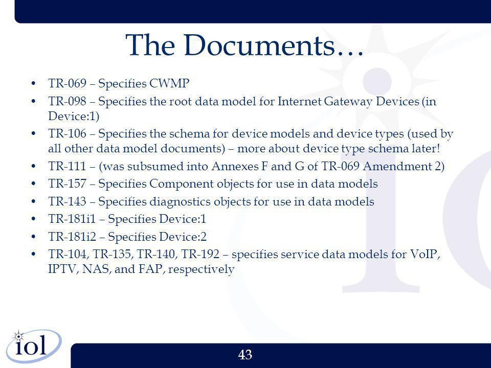 The Documents… TR-069 – Specifies CWMP