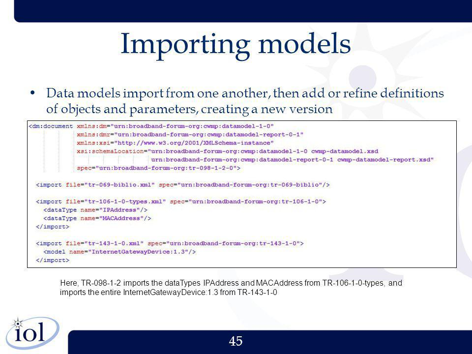 Importing models Data models import from one another, then add or refine definitions of objects and parameters, creating a new version.