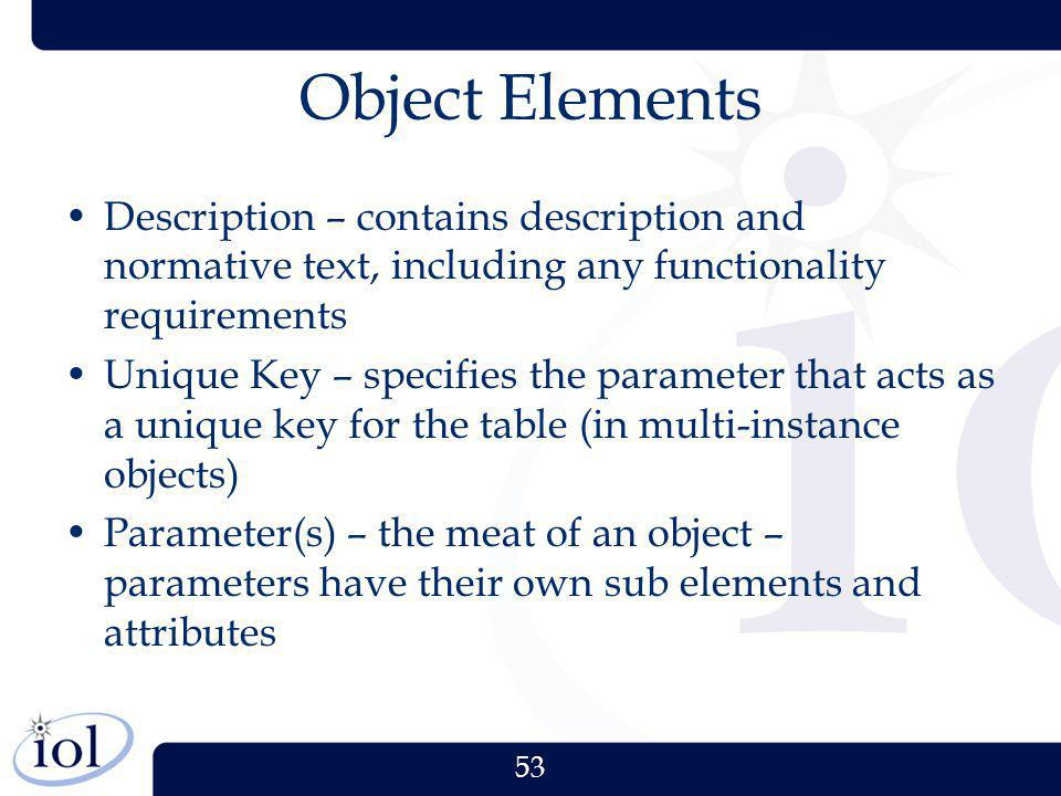 Object Elements Description – contains description and normative text, including any functionality requirements.