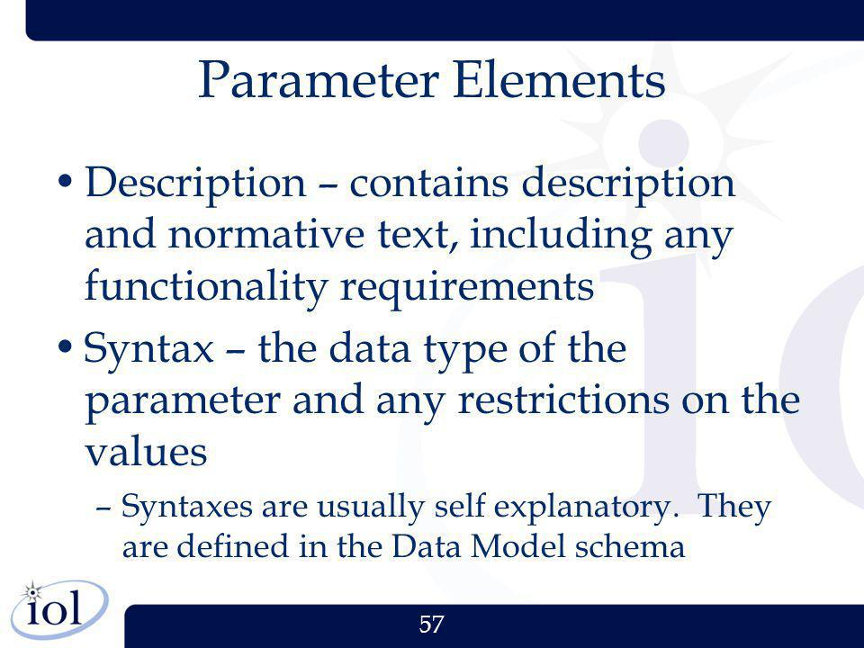 Parameter Elements Description – contains description and normative text, including any functionality requirements.