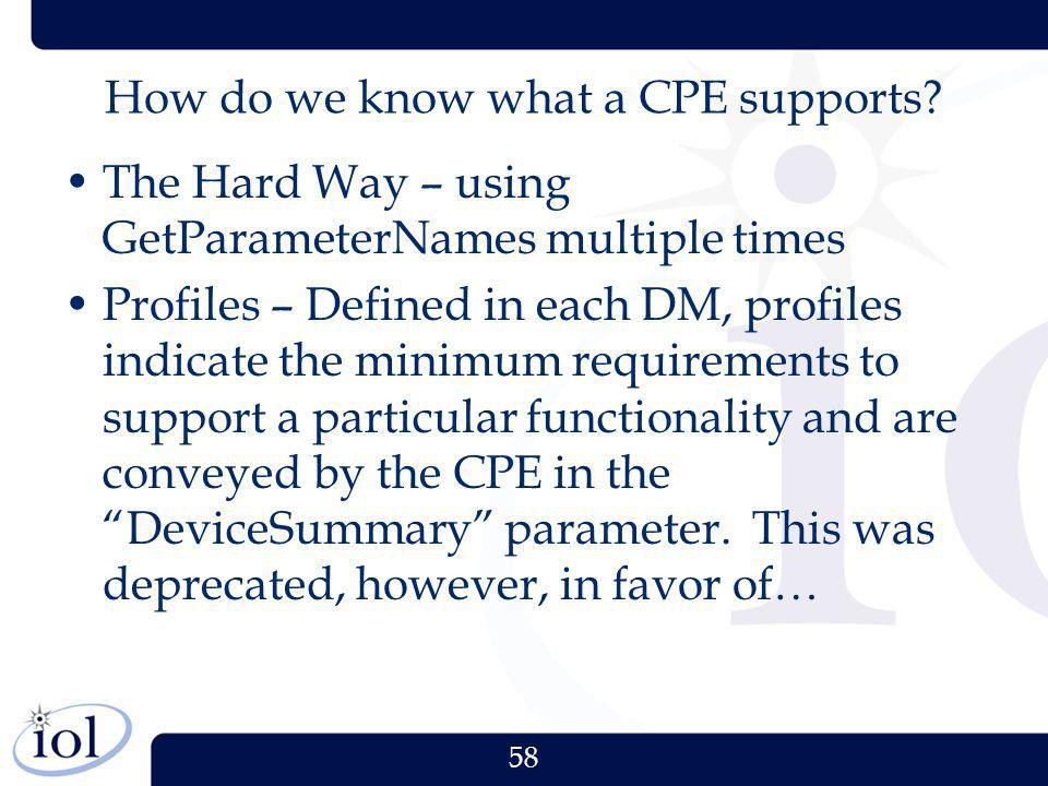 How do we know what a CPE supports