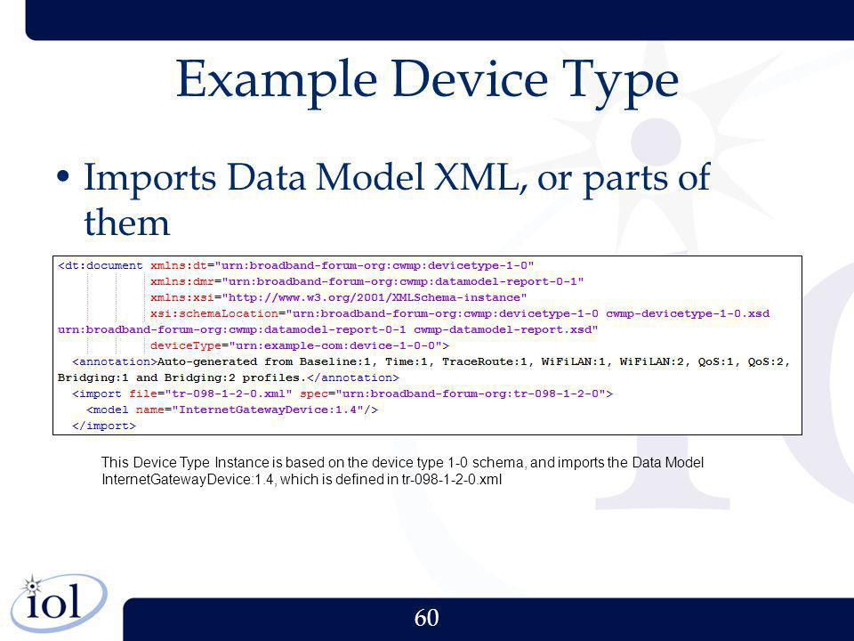 Example Device Type Imports Data Model XML, or parts of them