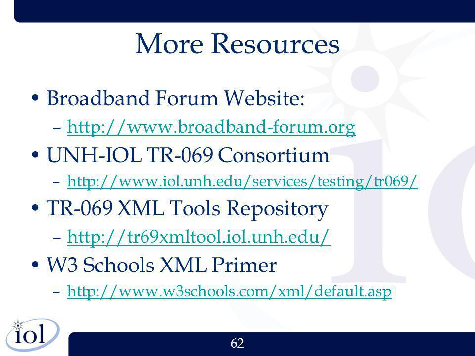 More Resources Broadband Forum Website: UNH-IOL TR-069 Consortium