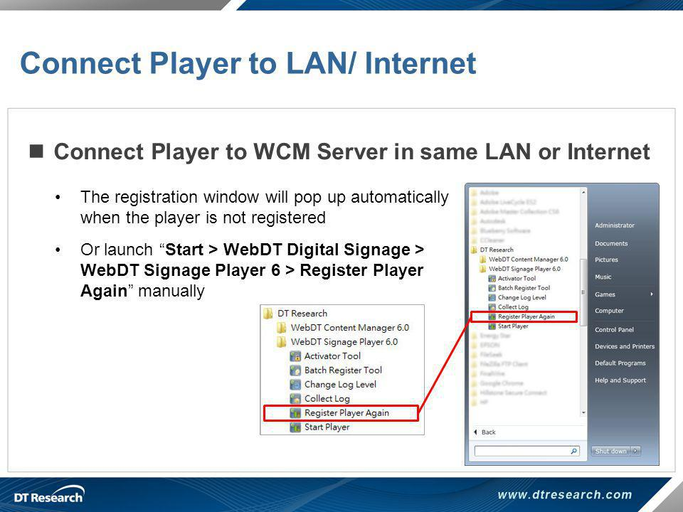 Connect Player to LAN/ Internet