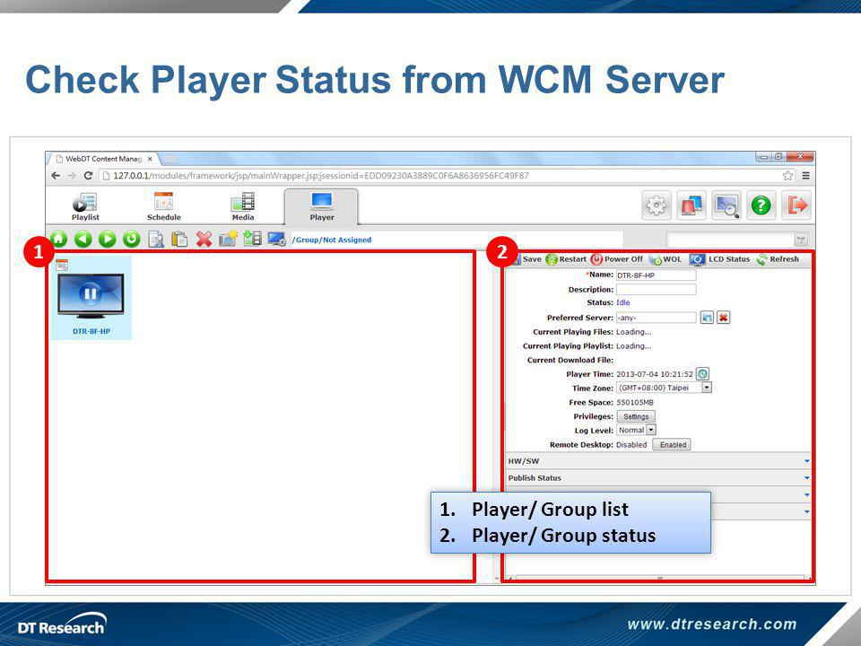 Check Player Status from WCM Server