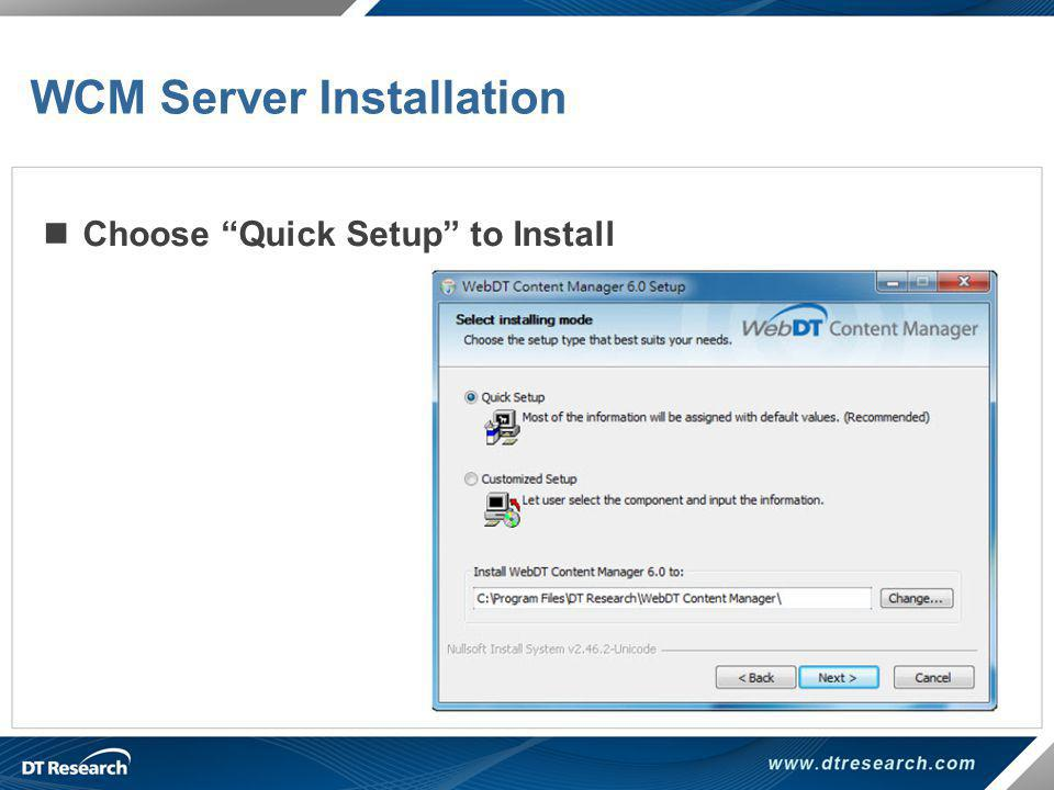 WCM Server Installation