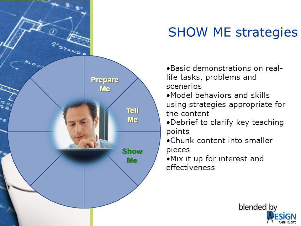 SHOW ME strategies Tell Me. Show Me. Prepare Me. Basic demonstrations on real-life tasks, problems and scenarios.