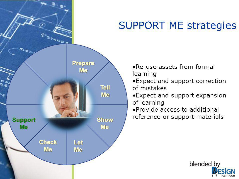 SUPPORT ME strategies Prepare Me Re-use assets from formal learning