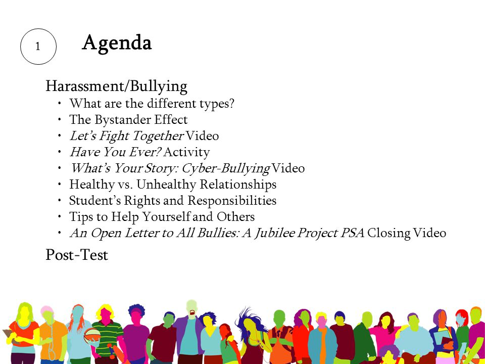 Agenda Harassment/Bullying Post-Test What are the different types